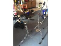 2 Cymbal stands and 2 bolt on Cymbal risers