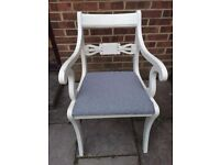 Beautiful Glenister Carver Chair Painted in Antique White & reupholstered in fabric of your choice