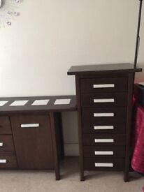 2 pieces of furniture brown dark colour.