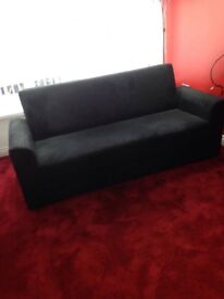 Practically new sofa settee with storage. Black colour. H 34.5in, L 77in, D 30in