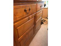 Solid wood oak and walnut dresser