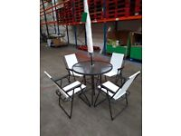 Glass Garden Table, 4 Chairs, Parasol