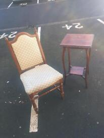 Chair and Mahogany Pot Stand