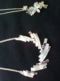 2 NEW ARGENTO AUGUST WOODS TRIO FLOWER AND SILVER GEOMETRIC NECKLACES, RRP £38 BOTH
