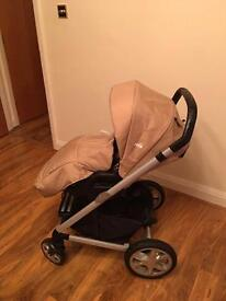 Joie chrome Pushchair and Joie Gem Car seat with ISO fix base