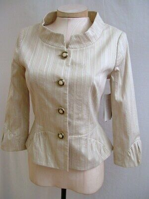 ETCETERA BEIGE CREAM EMBROIDERED CHAIN STITCH JACKIE-O JACKET size 8 NWT $285