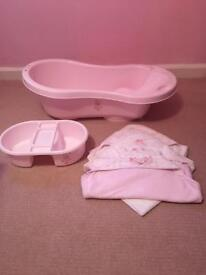 Baby bath , top and tail bowl and towels