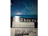 Ed Sheeran - 2x Tickets 1 June Hampden Park Glasgow