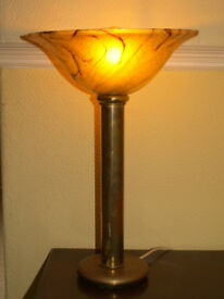"""Unusual Art Deco Brass Lamp Up Lighter with Marbled Glass Shade 20"""" High"""