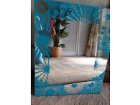 SMALL SQUARE NATURAL PINE FRAME NAUTICAL ROPE DOLPHIN BATHROOM WALL MIRROR
