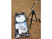 Mobile Caravan Camping Freesat Satellite kit in a hard carrying case with tripod