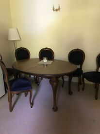 Table and chairs - dark wood extending dining table and 6 chairs