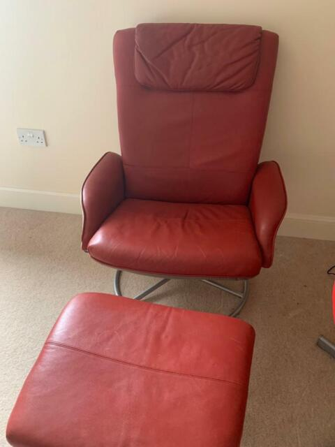 Outstanding Ikea Red Leather Chair With Footstool In Bathgate West Lothian Gumtree Machost Co Dining Chair Design Ideas Machostcouk