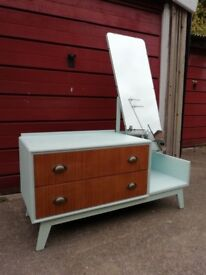 Vintage 2 drawer bedroom unit with large mirror, hand painted finish.