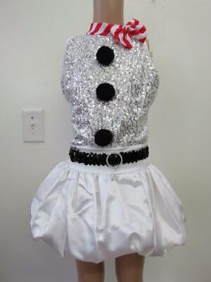 Dance Costume Large Child White Frosty The Snowman 2PC Jazz Solo Competition ()