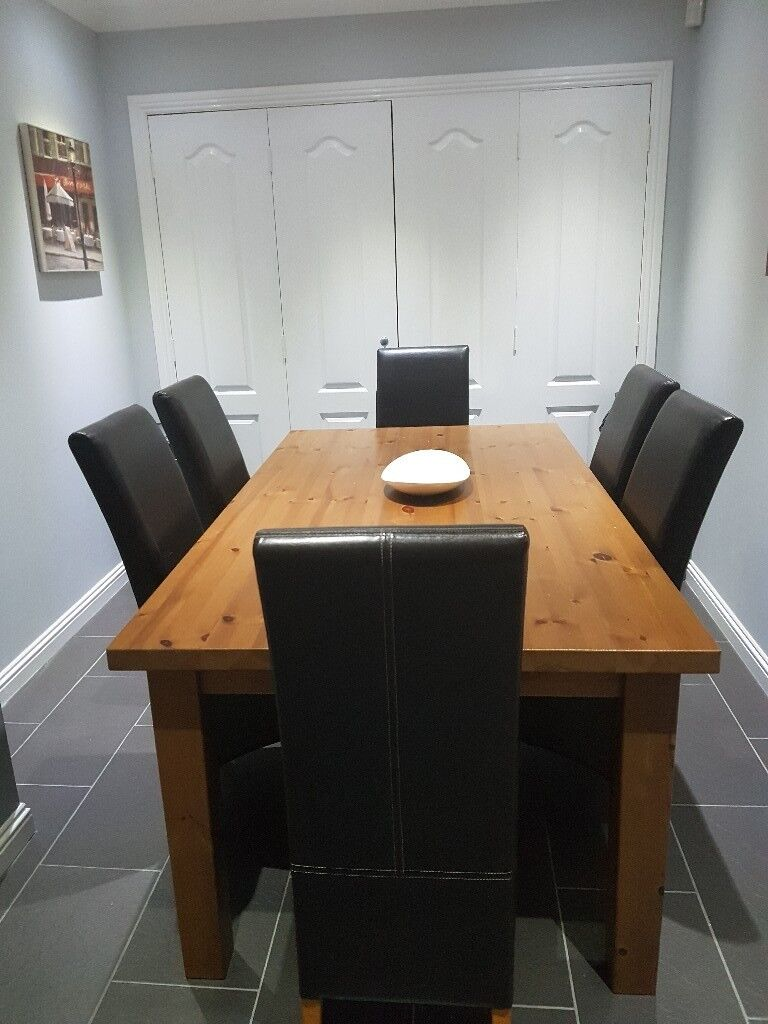 Solid Wooden Dining Table And 6 Chairs