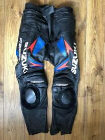 Genuine Scott Leathers Suzuki Motorbike Trousers - 34 Waist
