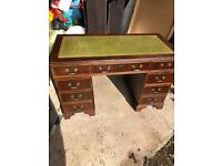 1960s Large Mahogany Pedestal Desk with Green Leather Inset