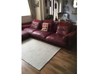 Leather settee separate chair and stool corner or L shape
