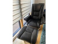 Real Leather Arm Chair and Foot Stool