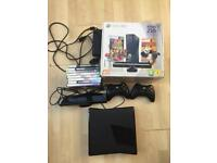 Xbox 360 with Kinect 250gb boxed with 2 controllers and 8 games