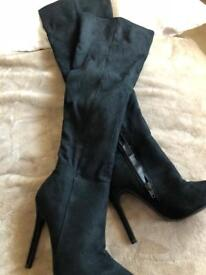 Suede over the knee boots worn once