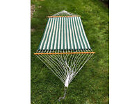 Hatteras Double Quilted Hammock Green & White