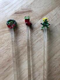 Pier Christmas handmade glass cocktail mixer sticks