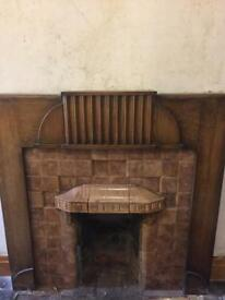 Art Deco fire surround with hearth 1930s original