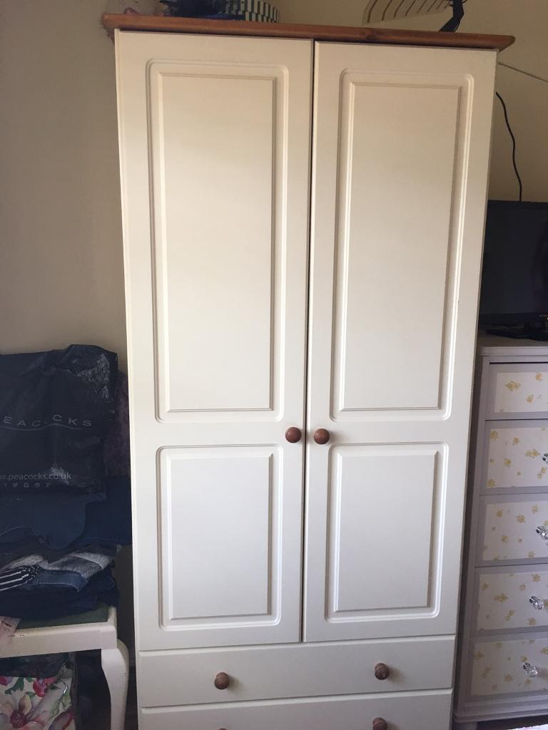 Modern cream and pine Richmond wardrobe