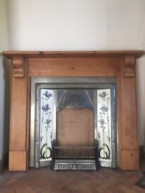 Victorian style fireplace, with olde pine wood mantle surround