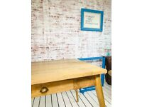 5ft Tapered Leg Mid-Century modern Living Hardwood Dining Kitchen Table with Drawers