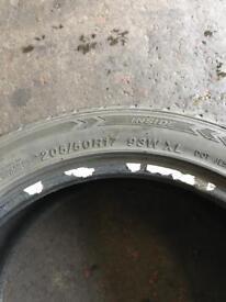4x 205/50R17 part worn tyres