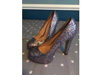 Top shop platform glitter heels size 38 worn once