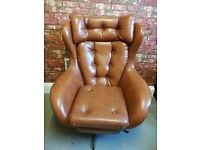 Vintage Brown Leather Swivel Chair Living Room Office
