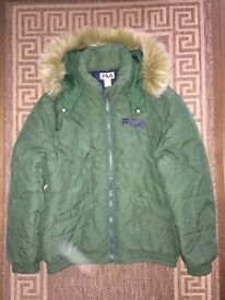 Fila Hoodie Winter Bomber Jacket Green Size L