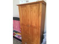 Oak nursery furniture for Sale including changing station, baby cot / bed and wardrobe