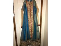 Asian full length dress in sky blue and gold