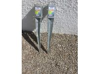 Galvanised Steele fence post anchors x2