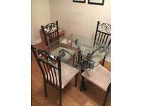 Beautiful glass dining table & 4 chairs