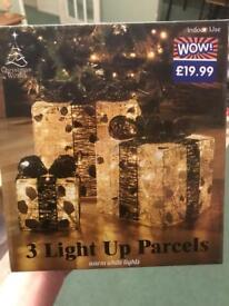 Brand New in Box 3 light up parcels