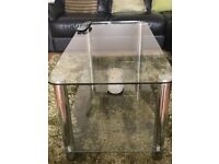 Glass coffee table, tv stand, side unit and nest of tables