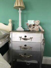 SOLD -Pair of Antique French Silver bedside chests