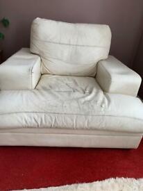 Large Cream Leather Armchair