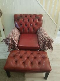Ox blood leather chesterfield chait and foot rest