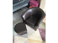 Kids chair with foot stool, faux leather, dunelm