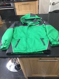 A boys waterproof zipped up jacket