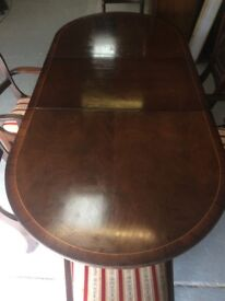 Solid Oak And Walnut Dining Table - Extendable. Includes 6 Matching Chairs