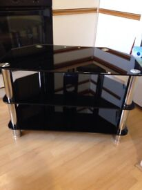 QUALITY black glass tv stand with chrome metal legs,
