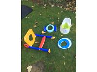 Selection of potties and toilet seat training
